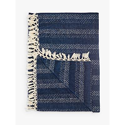 John Lewis Fishbone Stripe Throw, Blue