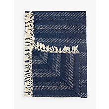 Buy John Lewis Fishbone Stripe Throw, Blue Online at johnlewis.com