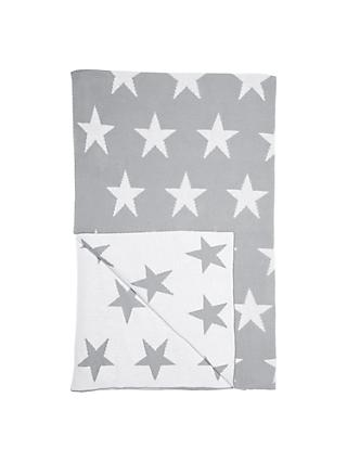 little home at John Lewis Star Throw, Grey/White