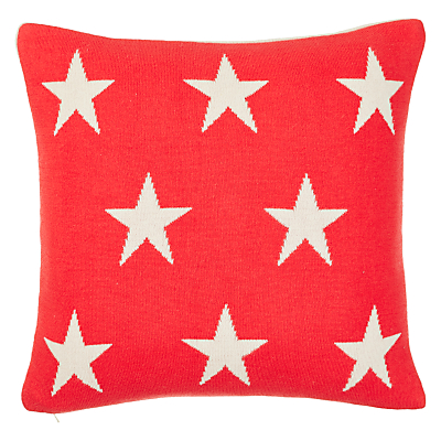 little home at john lewis star cushion, red/white