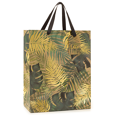 Image of John Lewis & Partners Tropical Leaf Gold Gift Bag