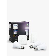 Buy Philips Hue Starter Kit with 3 Bulbs, 10W B22 Bayonet + Google Home Hands-Free Smart Speaker Online at johnlewis.com