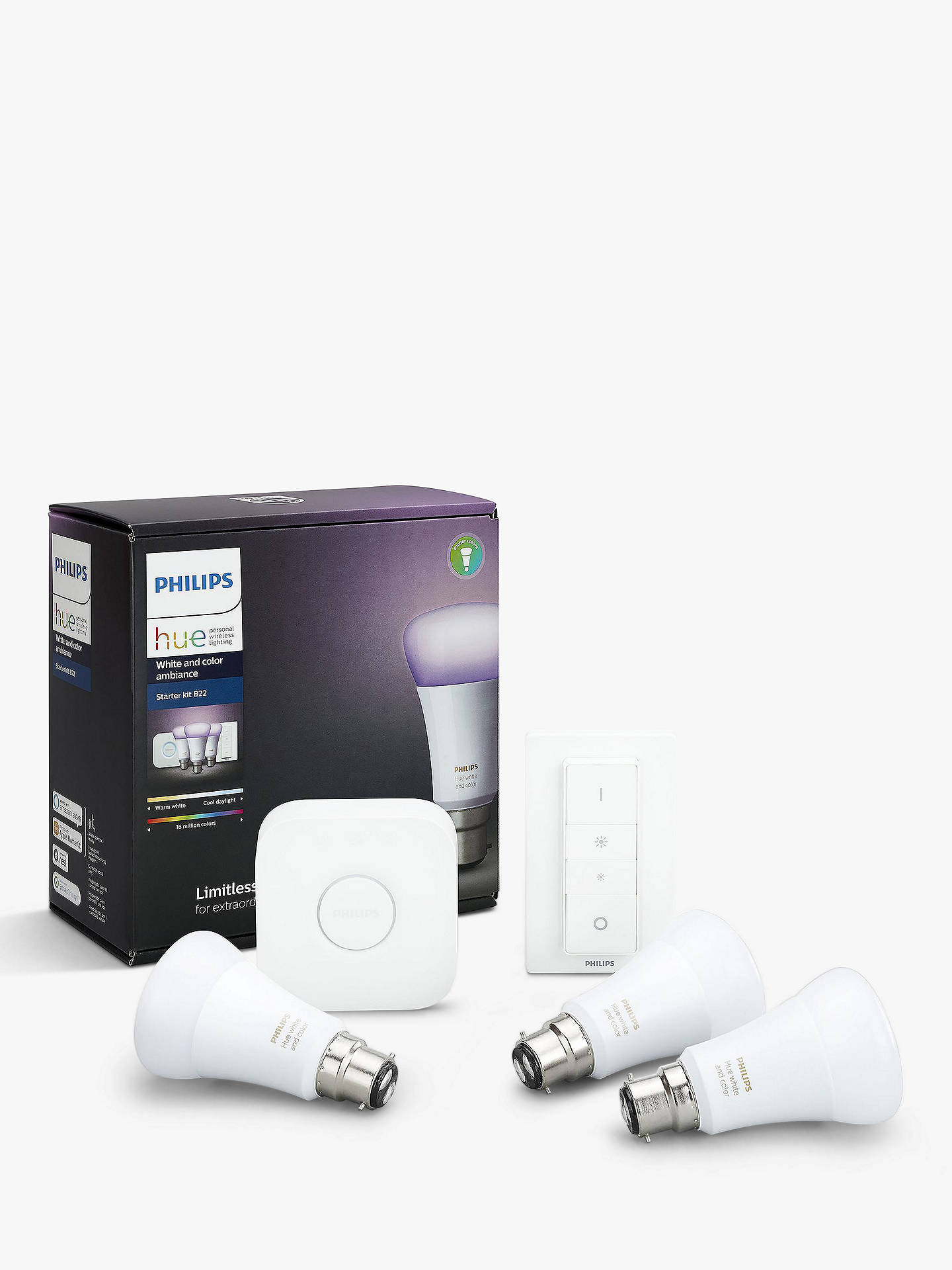 Philips Hue White and Colour Ambiance Wireless Lighting LED Starter Kit  with 3 Bulbs, 10W B22 Bayonet Cap