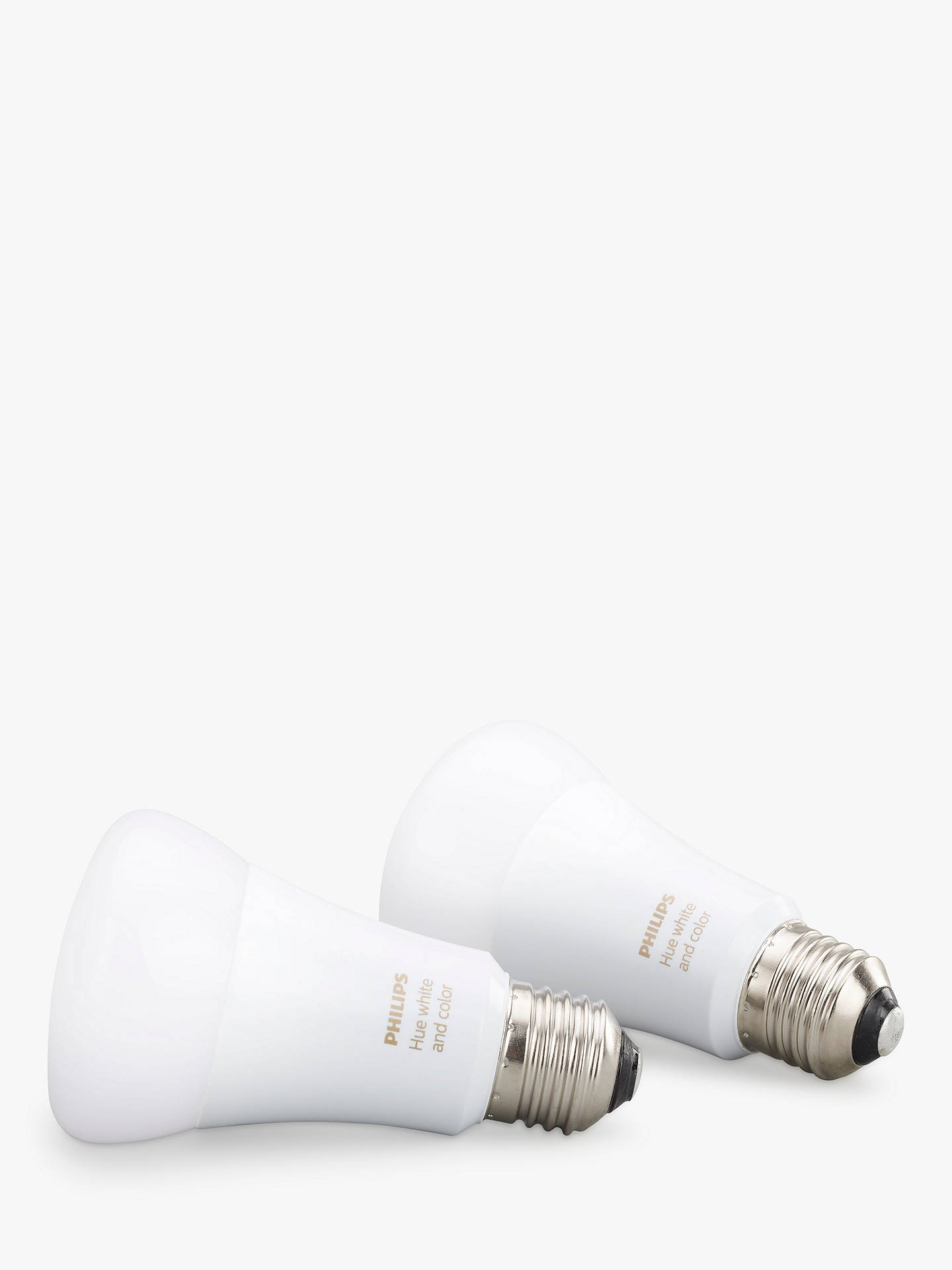 Buy Philips Hue White and Colour Ambiance Wireless Lighting LED Colour Changing Light Bulb, 9W A60 E27 Edison Screw Bulb, Pack of 2 Online at johnlewis.com