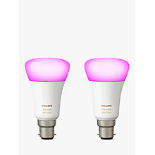 Buy Philips Hue White and Colour Ambiance Wireless Lighting LED Colour Changing Light Bulb, 9W B22 Bayonet Cap, Pack of 2 Online at johnlewis.com