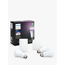 Buy Philips Hue Starter Kit with 3 Bulbs, 10W E27 Edison + Google Home Hands-Free Smart Speaker Online at johnlewis.com