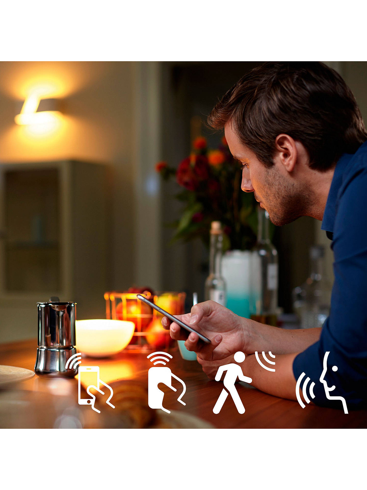 Buy Philips Hue White and Colour Ambiance Wireless Lighting LED Starter Kit with 3 Bulbs, 10W E27 Edison Screw Cap Online at johnlewis.com