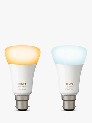 Buy Philips Hue White Ambiance Wireless Lighting LED Light Bulb, 9.5W A60 B22 Bulb, Pack of 2 Online at johnlewis.com