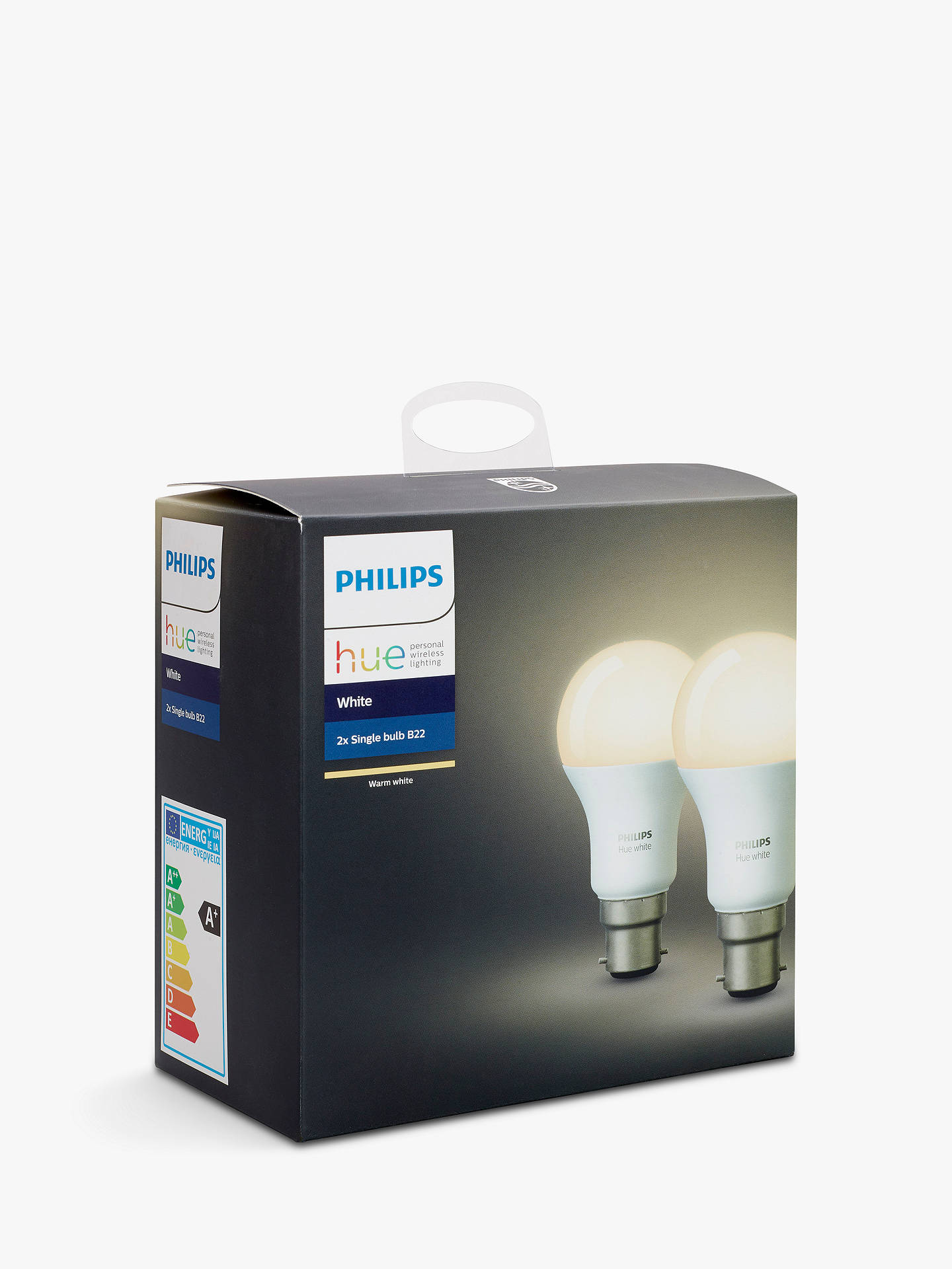 BuyPhilips Hue White 9.5W A60 Smart Bulb, B22 Fitting, Pack of 2 Online at johnlewis.com