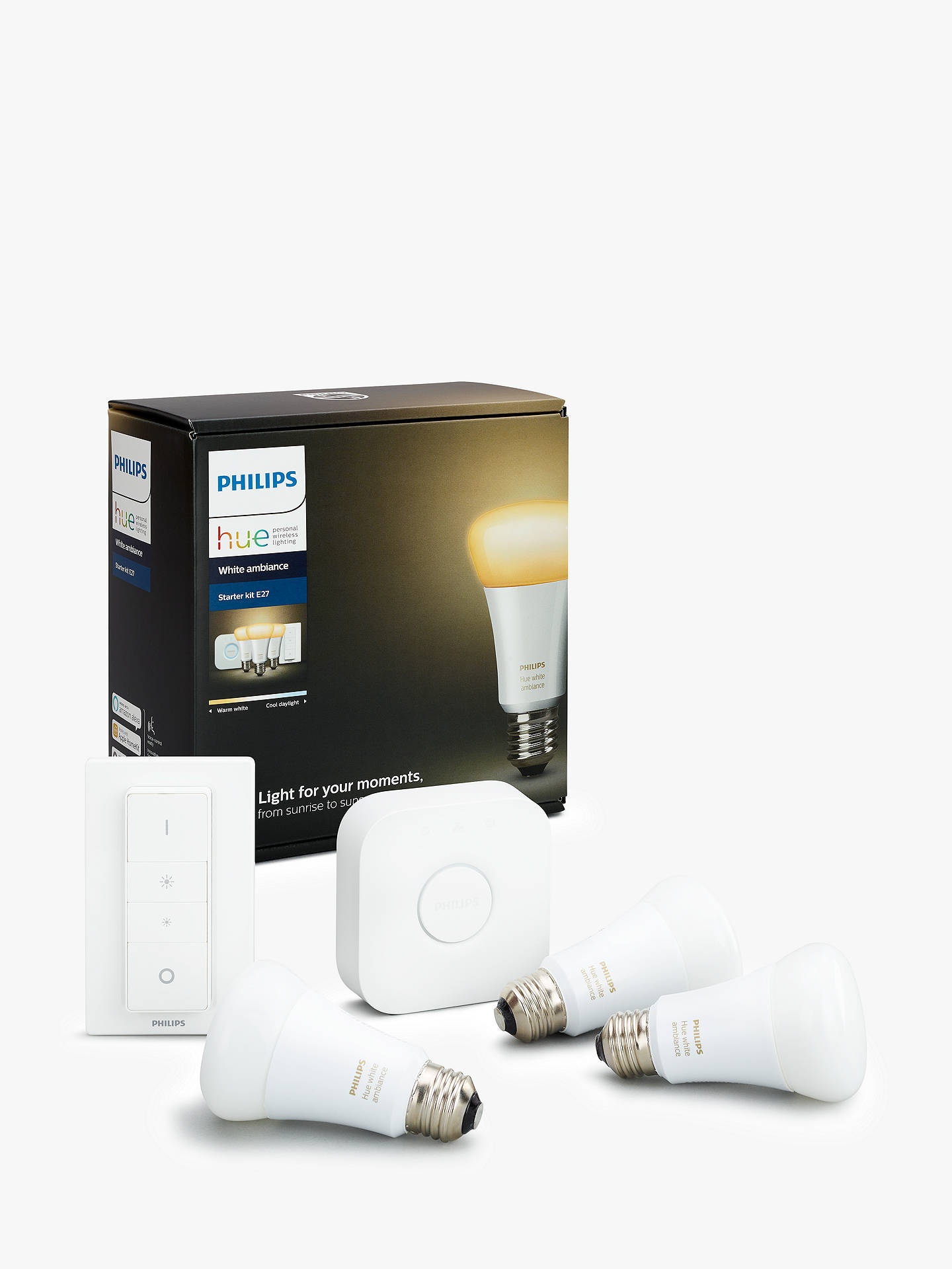 Buy Philips Hue White Ambiance Wireless Lighting LED Starter Kit with 3 Bulbs, 10W E27 Edison Screw Cap Online at johnlewis.com
