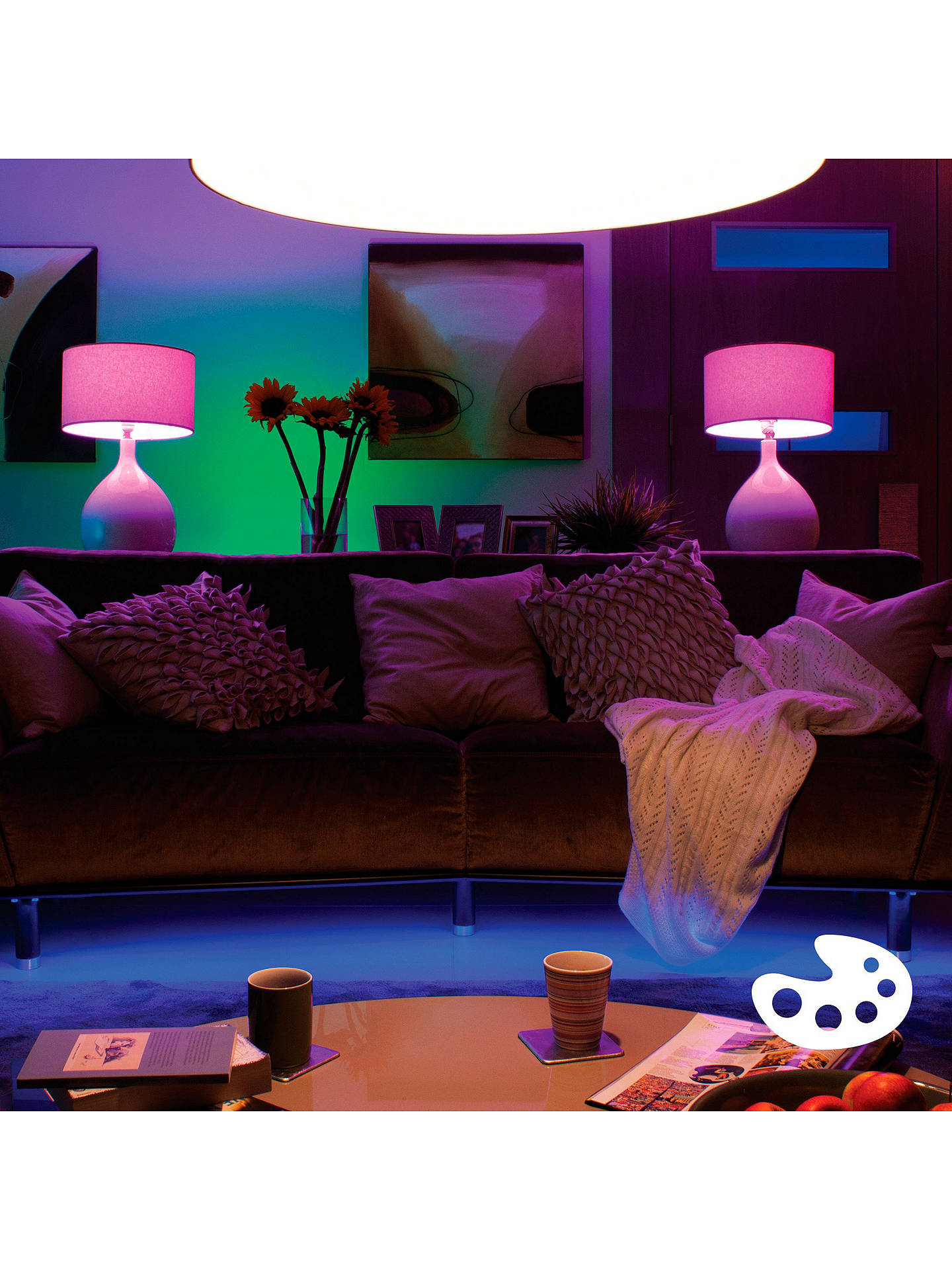 BuyPhilips Hue White and Colour Ambiance Wireless Lighting LED Starter Kit with 3 Bulbs, 6.5W GU10 Online at johnlewis.com