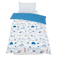 Buy little home at John Lewis Noisy Harbour Duvet Cover and Pillowcase Set, Single, Blue/White Online at johnlewis.com