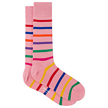 Buy Paul Smith Bright Stripe Cotton Socks, One Size, Pink Online at johnlewis.com