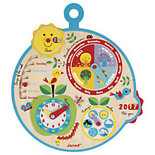 Buy Janod Over Time Wooden Educational Calendar Clock Online at johnlewis.com