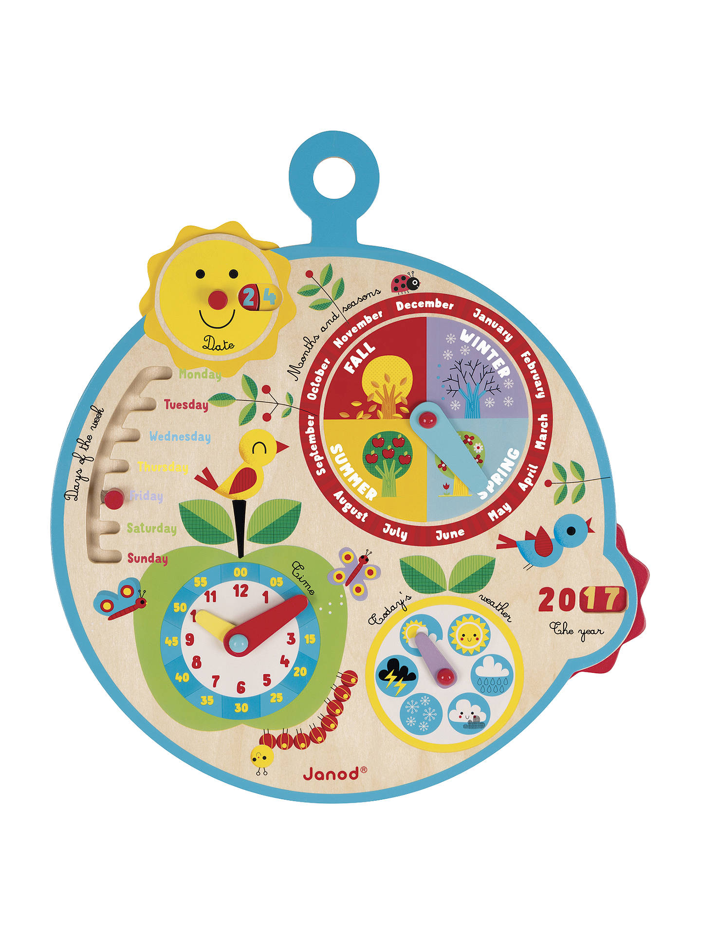 BuyJanod Over Time Wooden Educational Calendar Clock Online at johnlewis.com