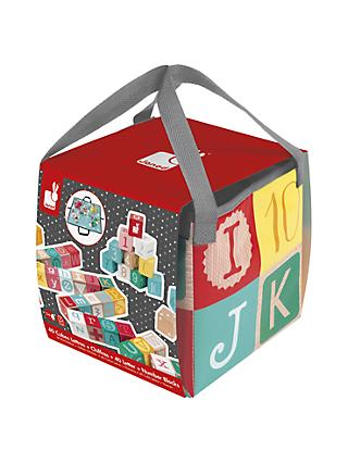 Janod Kubix 40 Wooden Letter And Number Blocks