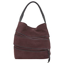 Buy Mint Velvet Maggie Leather Expandable Shoulder Bag, Bordeaux Online at johnlewis.com