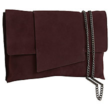 Buy Mint Velvet Lea Leather Clutch Bag, Bordeaux Online at johnlewis.com
