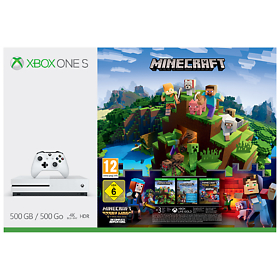 Image of Microsoft Xbox One S Console, 500GB, with Minecraft