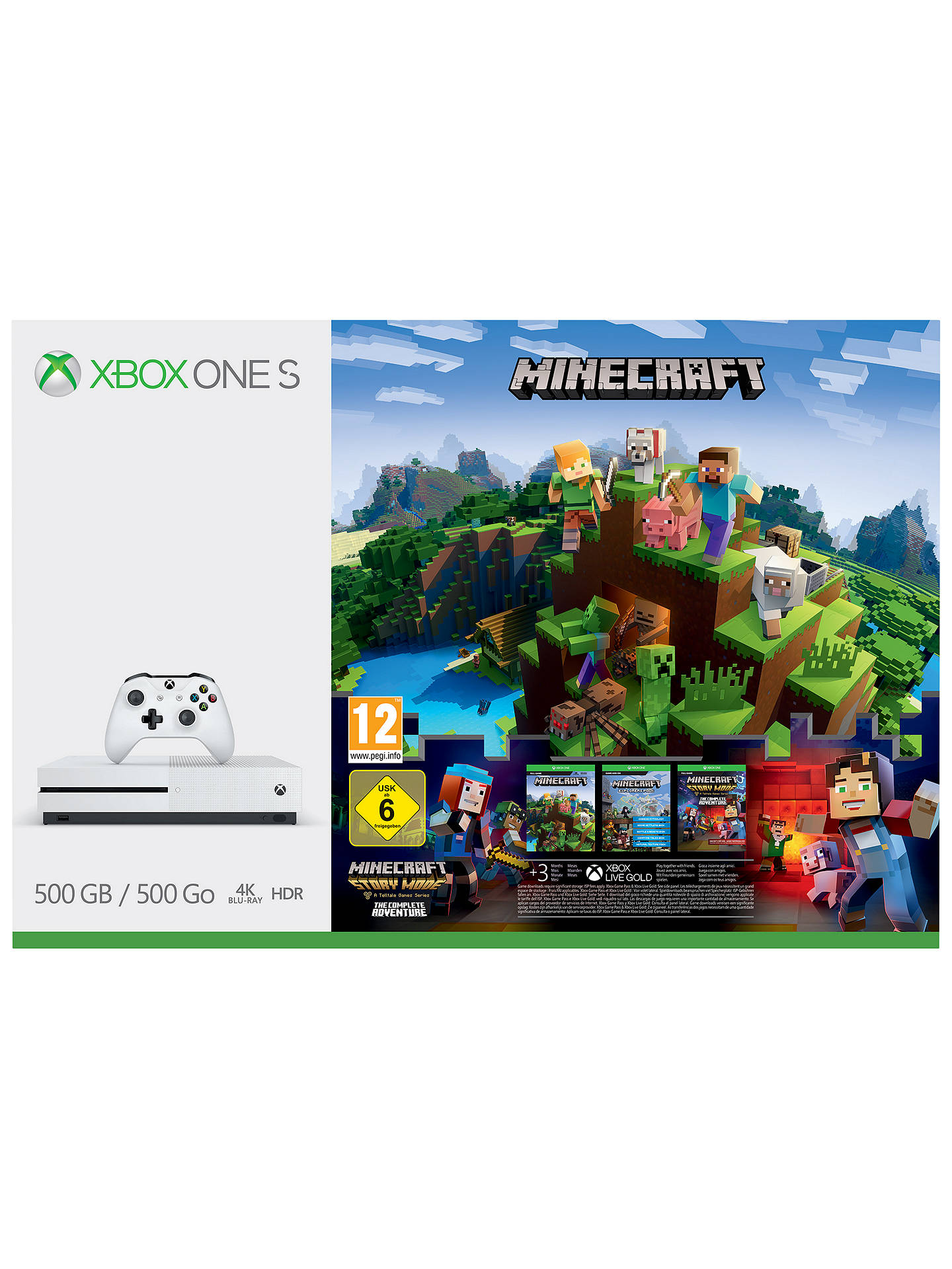Microsoft Xbox One S Console, 8GB, with Minecraft Bundle at John