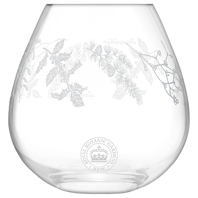 Kew Royal Botanic Gardens Woodland Garland Vase, Clear, H20.5cm