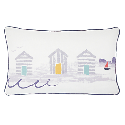 John Lewis Beach Huts Rectangular Reversible Showerproof Outdoor Cushion, White/Blue