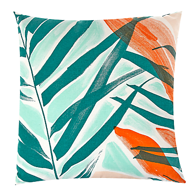 John Lewis Palm Leaf Showerproof Outdoor Cushion, Green