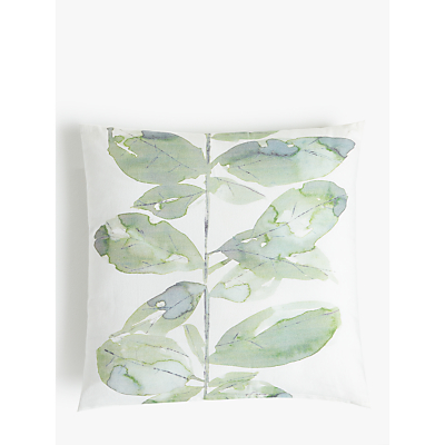 Croft Collection Leaf Square Showerproof Outdoor Cushion, Green