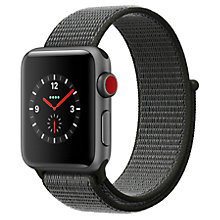 Buy Apple Watch Series 3, GSP and Cellular, 38mm Space Grey Aluminium Case with Sport Loop, Dark Olive Online at johnlewis.com