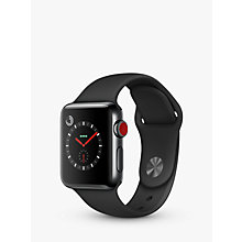 Buy Apple Watch Series 3, GPS and Cellular, 38mm Space Black Stainless Steel Case with Sport Band, Black Online at johnlewis.com