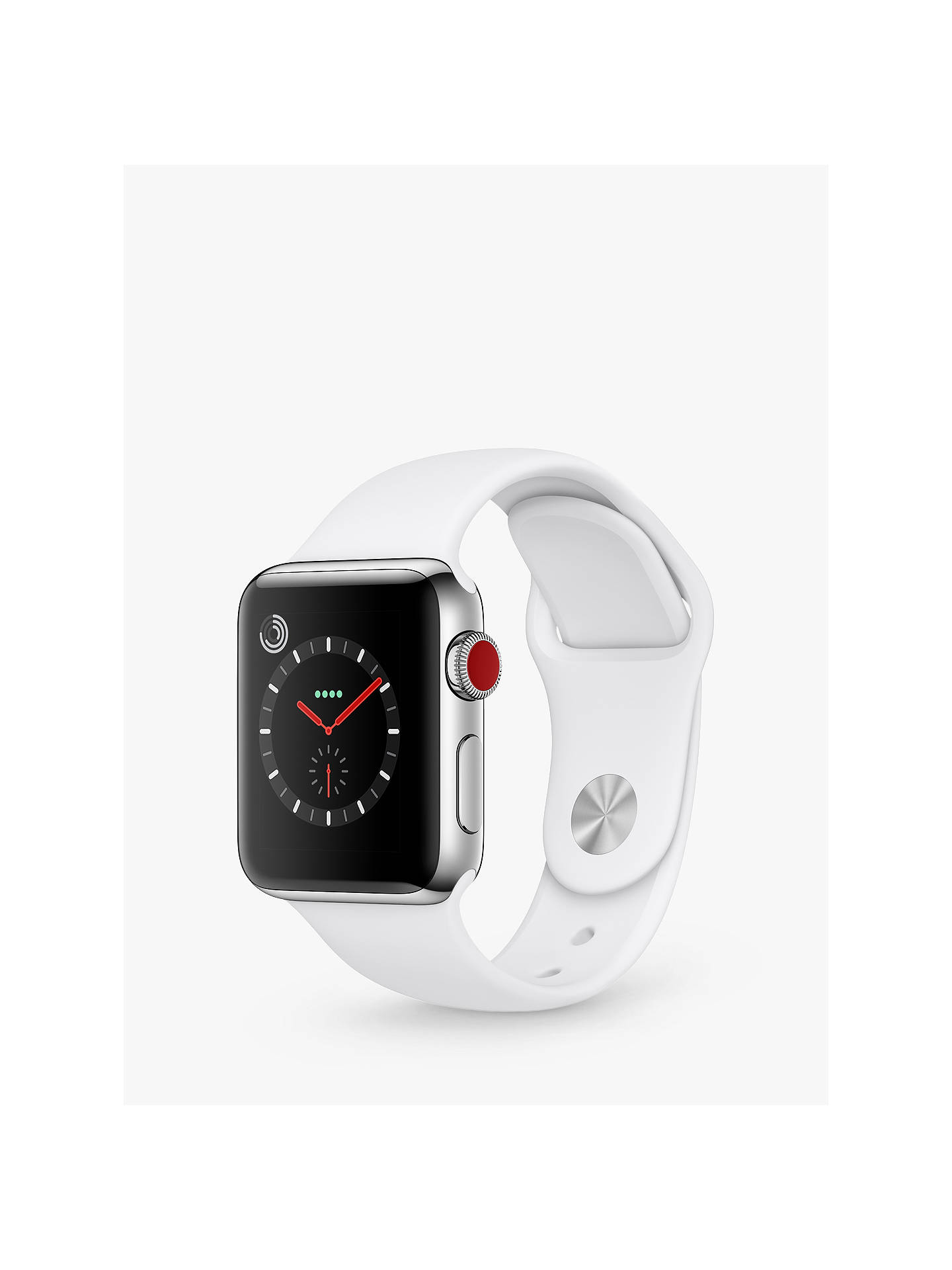 BuyApple Watch Series 3, GPS and Cellular, 38mm Stainless Steel Case with Sport Band, Soft White Online at johnlewis.com