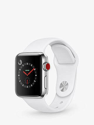 Buy Apple Watch Series 3, GPS and Cellular, 38mm Stainless Steel Case with Sport Band, Soft White Online at johnlewis.com