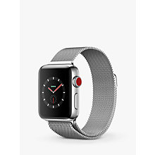 Buy Apple Watch Series 3, GPS and Cellular, 38mm Stainless Steel Case with Milanese Loop, Silver Online at johnlewis.com
