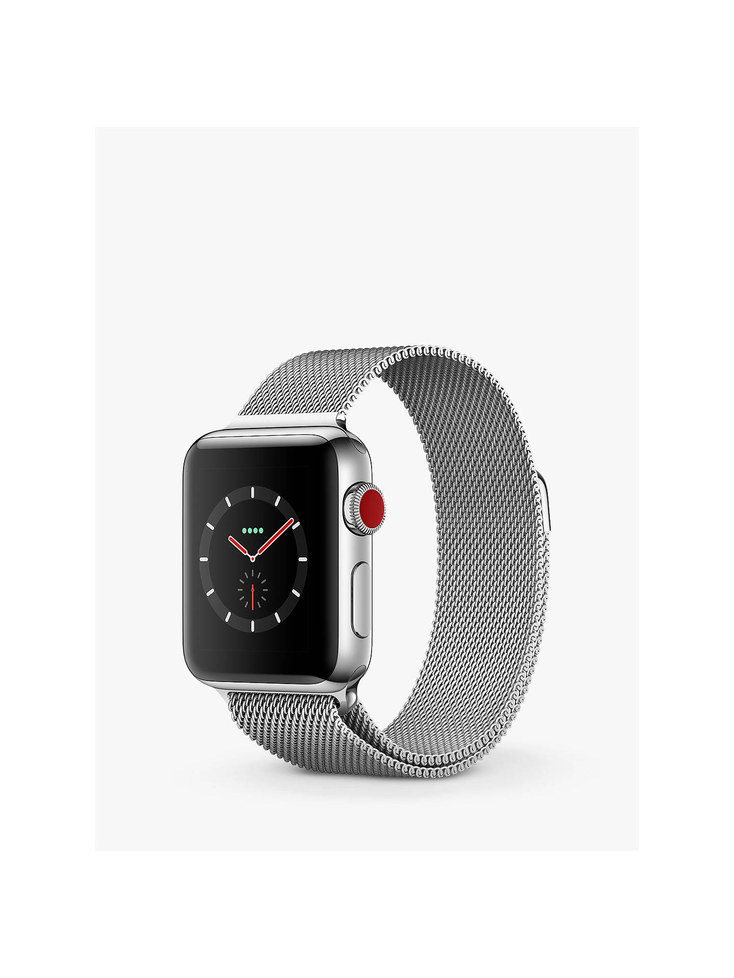 Apple Watch Series 3, GPS and Cellular, 38mm Stainless Steel Case with Milanese Loop, Silver