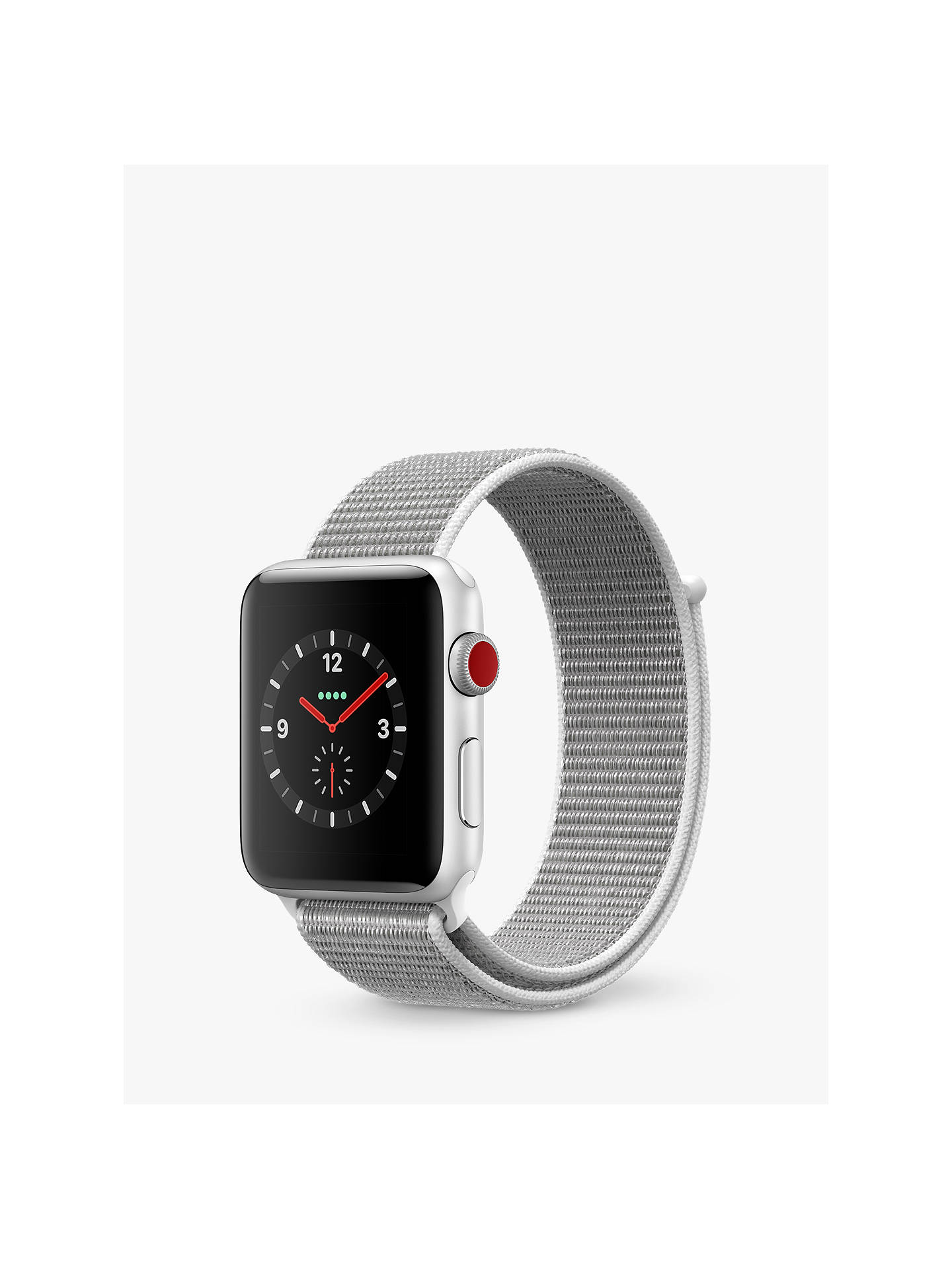 BuyApple Watch Series 3, GPS and Cellular, 42mm Silver Aluminium Case with Sport Loop, Seashell Online at johnlewis.com