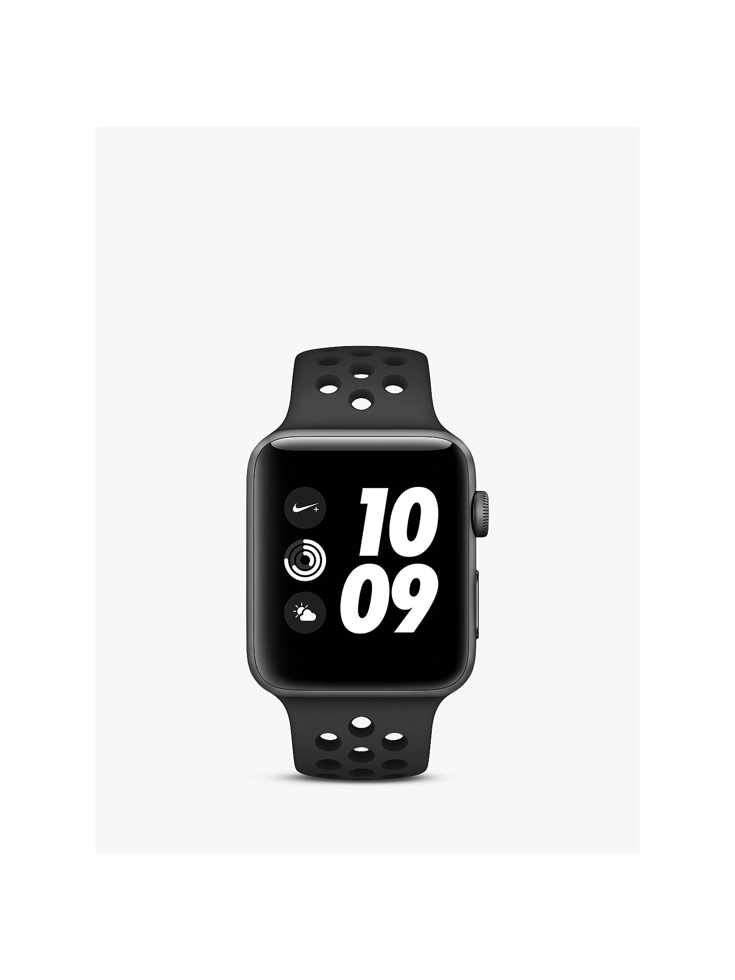 BuyApple Watch Nike+ Series 3, GPS, 42mm Space Grey Aluminium Case with Sport Band, Anthracite / Black Nike Online at johnlewis.com