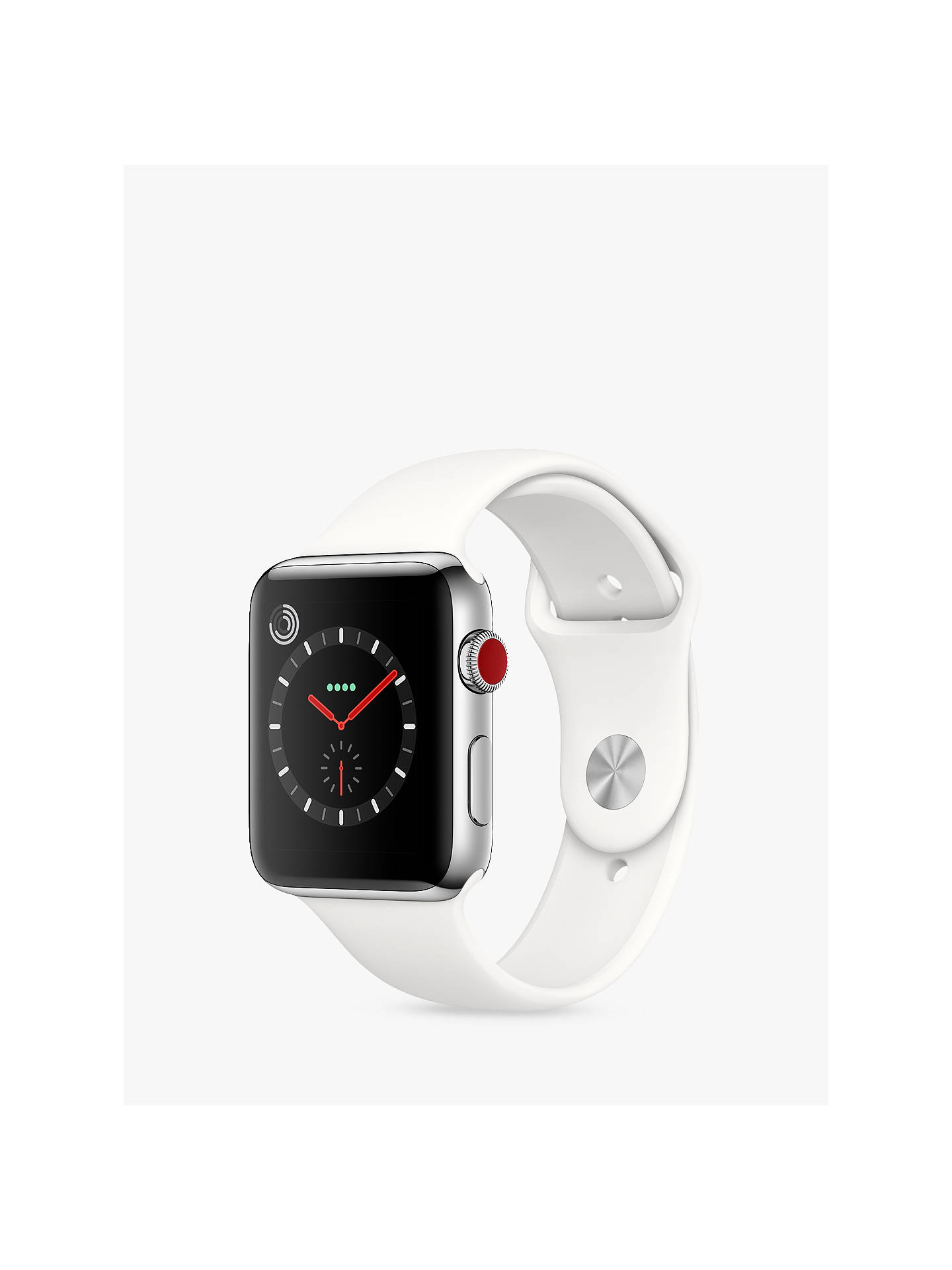 Buy Apple Watch Series 3, GPS and Cellular, 42mm Stainless Steel Case with Sport Band, Soft White Online at johnlewis.com