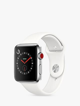 Apple Watch Series 3, GPS and Cellular, 42mm Stainless Steel Case with Sport Band, Soft White