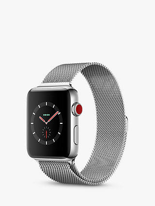 Buy Apple Watch Series 3, GPS and Cellular, 42mm Stainless Steel Case with Milanese Loop, Silver Online at johnlewis.com