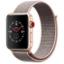 Buy Apple Watch Series 3, GPS and Cellular, 42mm Gold Aluminium Case with Sport Loop, Pink Sand Online at johnlewis.com