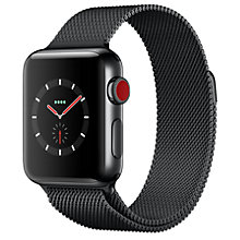 Buy Apple Watch Series 3, GPS and Cellular, 38mm Space Black Stainless Steel Case with Milanese Loop, Space Black Online at johnlewis.com