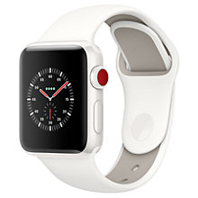 Buy Apple Watch Edition, GPS and Cellular, 38mm White Ceramic Case with Sport Band, Soft White / Pebble Online at johnlewis.com