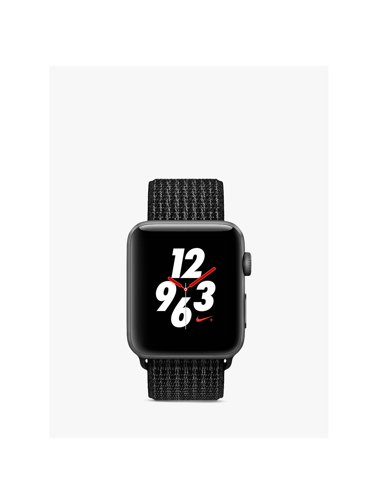 Ambos Tutor vendaje  Apple Watch Nike+ Series 3, GPS and Cellular, 42mm Space Grey Aluminium  Case with Nike Sport Loop, Black / Pure Platinum at John Lewis & Partners