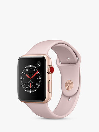 Buy Apple Watch Series 3, GPS and Cellular, 42mm Gold Aluminium Case with Sport Band loop, Pink Sand Online at johnlewis.com