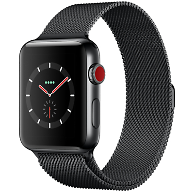 Apple Watch Series 3, GPS and Cellular, 42mm Space Black Stainless Steel Case with Milanese Loop, Space Black Review thumbnail