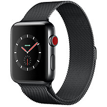 Buy Apple Watch Series 3, GPS and Cellular, 42mm Space Black Stainless Steel Case with Milanese Loop, Space Black Online at johnlewis.com