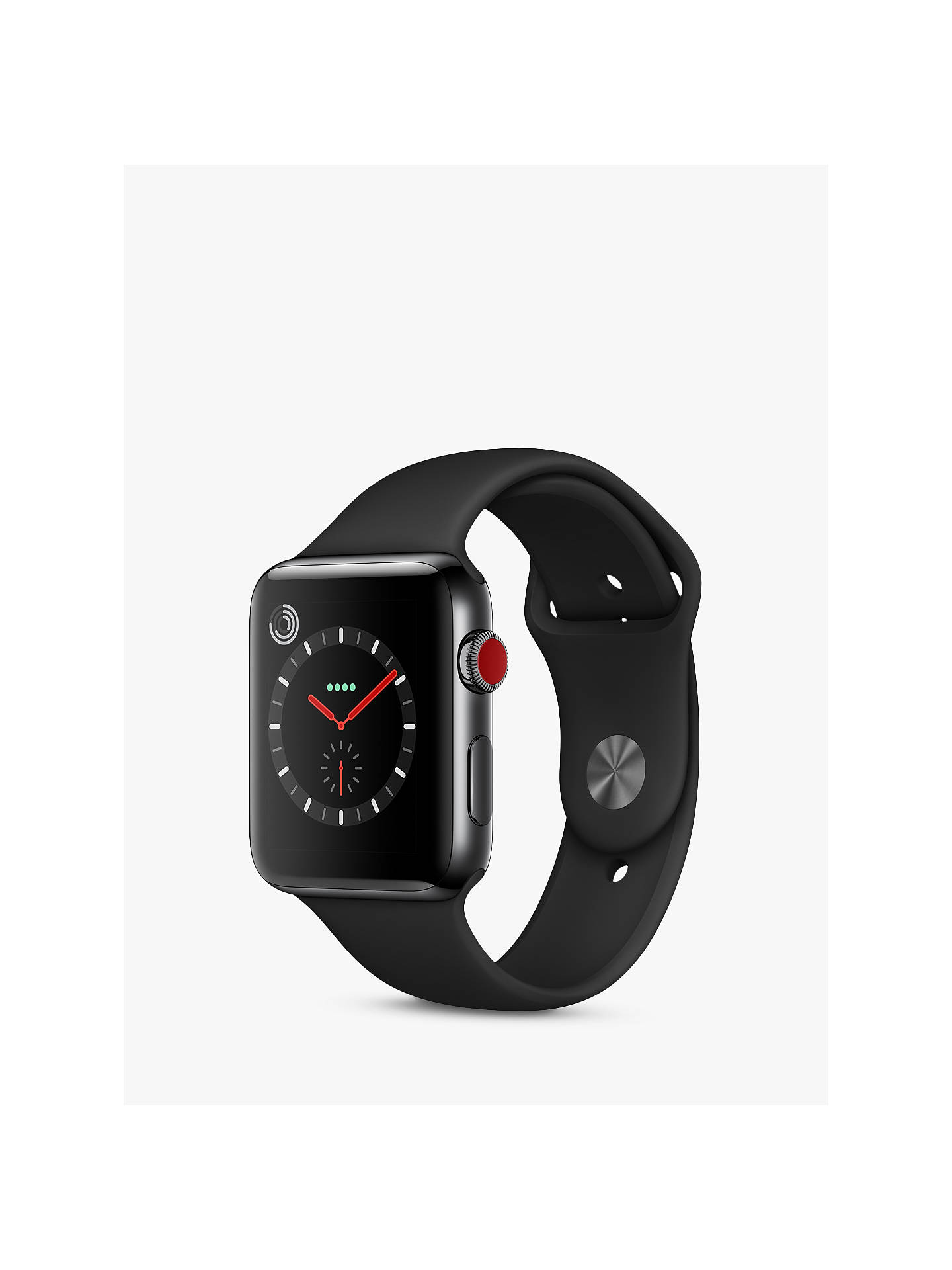 on sale ef051 84d04 Apple Watch Series 3, GPS and Cellular, 42mm Space Black Stainless Steel  Case with Sport Band, Black