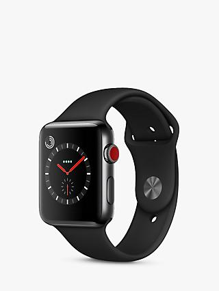 Apple Watch Series 3, GPS and Cellular, 42mm Space Black Stainless Steel Case with Sport Band, Black