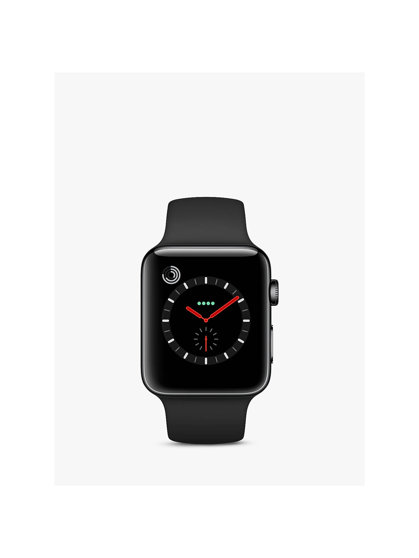 BuyApple Watch Series 3, GPS and Cellular, 42mm Space Black Stainless Steel Case with Sport Band, Black Online at johnlewis.com