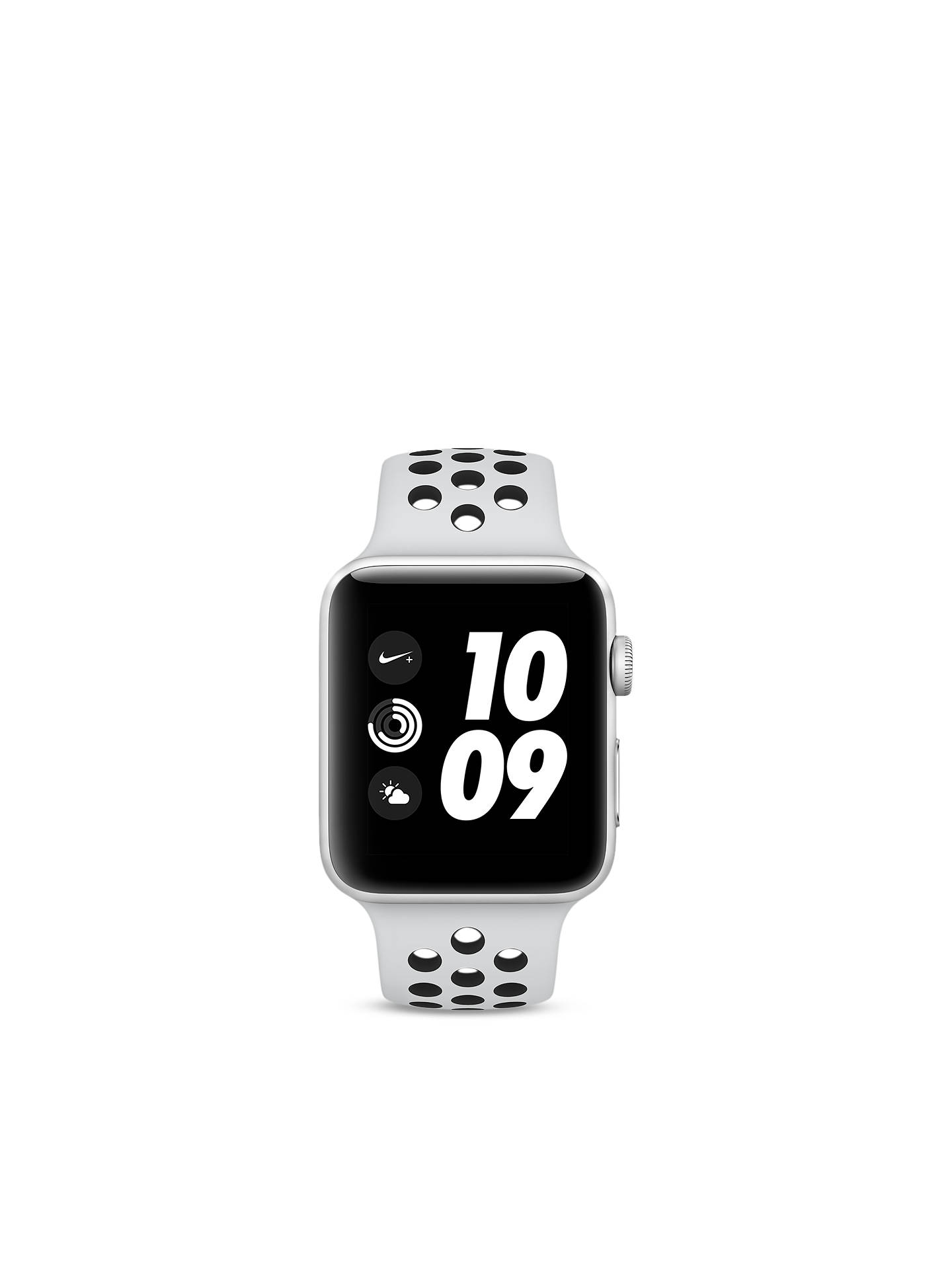 Buy Apple Watch Nike+ Series 3, GPS, 42mm Silver Aluminium Case with Nike Sport Band, Pure Platinum / Black Online at johnlewis.com